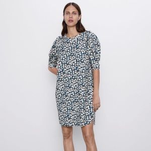 Zara Floral Puff Sleeve Mini Dress